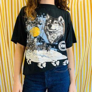 SOLD DEPOP 80s Wildlife Association Wolf T-shirt